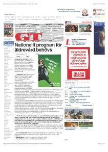 Nationellt program för äldrevård behövs | GT.se- Ledare_Sida_1
