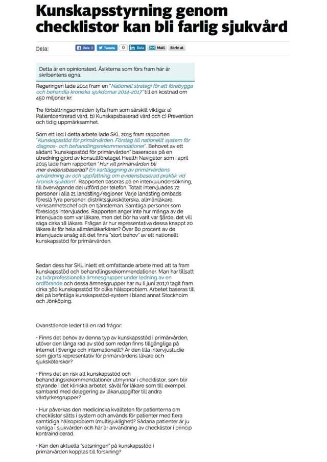 Checklistor - farlig sjukvård