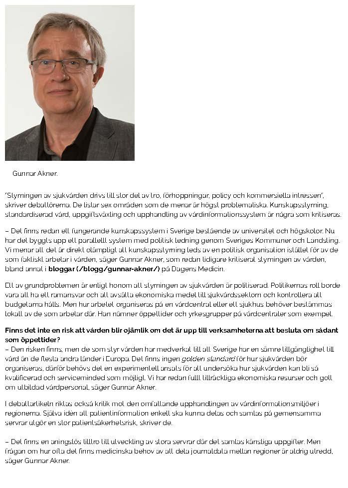 Nätverk vill stoppa politisk styrning av vården - Nyheter - Dagens Medicin_Sida_2